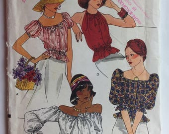 Vogue 8860 Pattern Misses' Loose Fitting 1960's Peasant Blouse in 4 Styles size 12 uncut