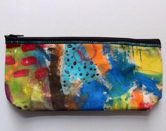Canvas zip pouch - hand painted pencil makeup bag ZPG02