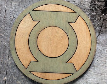 Green Lantern Wood Coaster | Rustic/Vintage | Hand Stained and Glued | Comic Book Gift | Justice League
