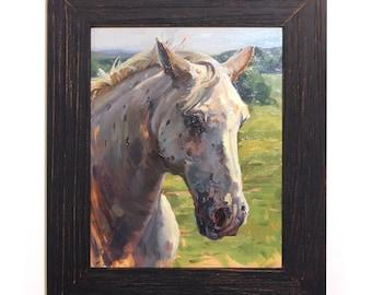 "8x10 Horse Portrait ""Dallas"" Equestrian Original Framed Oil Painting"