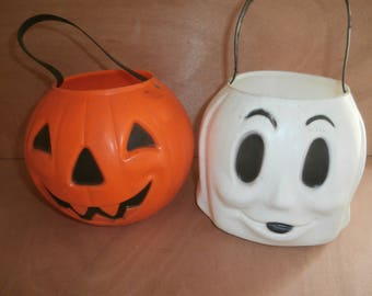 Vintage Halloween blow mold jack o lantern and ghost candy buckets set 2