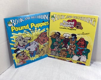 2 Pound Puppies Book and Record Set vinyl record and book 1985 Pet Project and Fun From A to Z Kids Children Storybook Peter Pan Records VG+