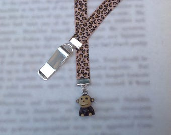 Monkey bookmark, cute bookmark with clip - Attach to book cover then mark the page with the ribbon. Never lose your cute bookmark!