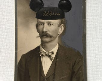 disneyland, mickey mouse, mouse ears, original mixed media, vintage photograph, mustache
