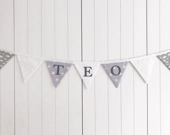 Grey White Fabric Name Bunting - Grey White Name Bunting - Grey White Custom Name Banner - Personalised Name Bunting - Custom Name Flags