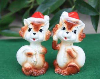 Vintage Anthropomorphic Christmas Santa Squirrel Fox Salt Pepper Shakers 1950s Mid Century Japan Ceramic Collectibles Decorations Figurines