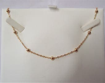 """Gold Plated Beaded Chain Necklace 20""""."""