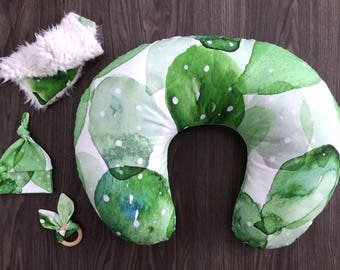 Boppy pillow cover with zipper. Organic nursing pillow cover. Green cactus watercolor prickly pear. Gender neutral