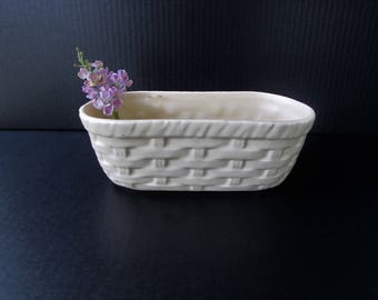 White McCoy Floraline Planter or Vase - Basket Weave Design - White McCoy Pottery - Floraline Weave - White Planter - Vintage Planter