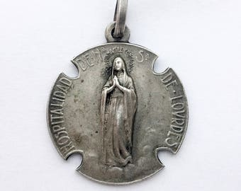 1900s Rare Miraculous Medal Holy Mary Medal Mother Mary Pendant Religious Medal Charm