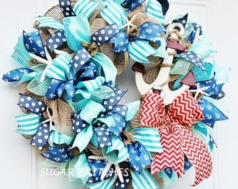 Coastal Beach Wreath, Beach Wreath, Summer Wreath, Anchor Wreath, Beach Wreath with Anchor