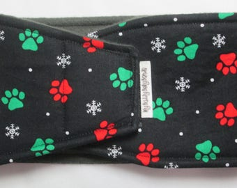 Male Dog Belly Band - Paws w Snowflakes on Black (#161)