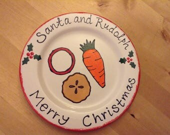 Santa and Rudolph Christmas Plate