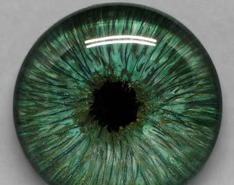 SALE - Green Hand Painted Glass Eye Cabochon 25mm Round Glass Eye Human Eye Fantasy Jewelry Supplies Fantasy Steampunk Sci Fi Costuming