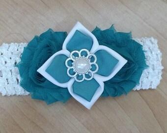 Flower Headband, Blue Headband, Baby Headband, Baby Hair Accessory, Baby Girl Headband, Pearl Headband, Infant Headband, Shabby Headband
