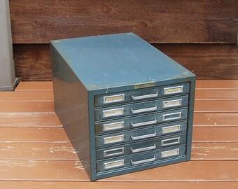 Large Steelmaster File Box, Vintage 6 Drawer File Case, Metal File Box, Vintage Records Chest, Storage Box, Vintage Industrial File Box