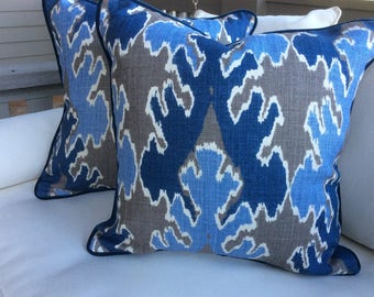 "Kelly Wearstler for Lee Jofa ""Bengal Bazaar"" in indigo and gray pillow covers"
