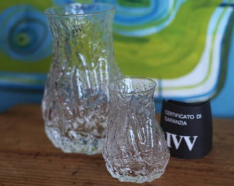 Vintage Glass Vases Selezione IVV Italy italian glass Mouth blown ( set of 2)