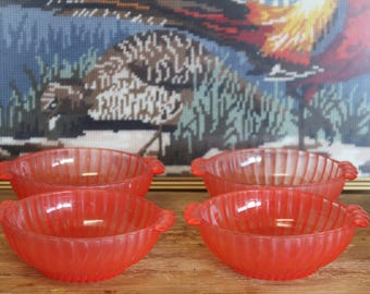 Vintage depression Red glass desert/ small serving  bowls (set o 4)