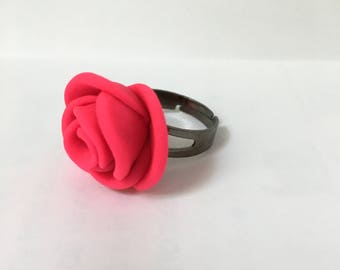 Hot Pink Rose Ring, Polymer Clay Rose, Rose Ring, Bright Pink Ring, Girls Ring, Clay Rose Ring, Hot Pink Jewelry, Neon Jewelry, Neon Ring