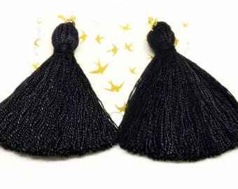 Black Tassel Earrings,Black Earrings,Statement Earrings,Fashion Earrings,Clip On Earrings,Handmade Earrings,Long Tassel Earrings