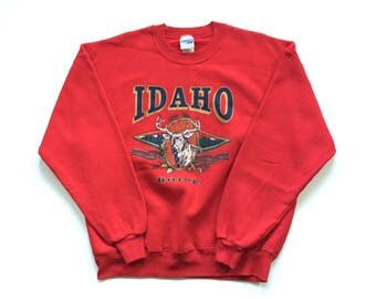 80's Idaho Chalk Line Boise crew neck sweater DEADSTOCK 100% cotton pullover Long Sleeve sweat shirt men's Large / Red