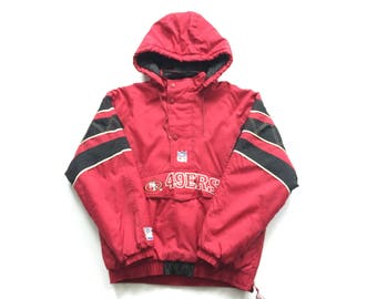 Vintage STARTER San Francisco 49ers men's jacket size large puffer throwback winter coat red / gold Mint condition / Deadstock!