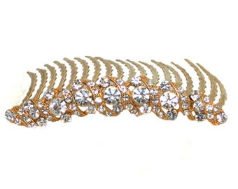 Bridal Veil Comb,  Crystal Bridal Hair Comb, Wedding Comb, French Twist Comb, Crystal Hair Clip, Goldtone Color Comb and Crystal
