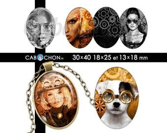 Steampunk ll • 45 Images Digitales OVALES 30x40 18x25 13x18 mm page cabochon cabochons steam punk chat chien femme engrenage rouille metal