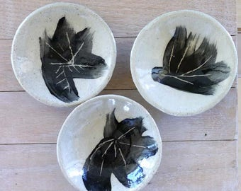 Hand made Black and White mini appetizer plate set (3 pc.)