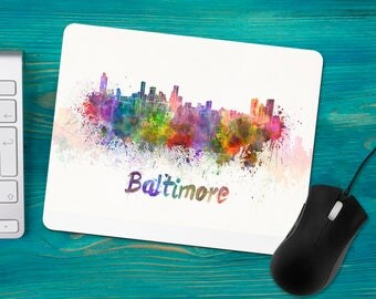 Baltimore Maryland Watercolor Mouse Pad, City Scape Skyline, Office Desk Accessories, Personalized Mouse Pad, Office Supplies, Computer Desk