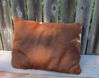 Vintage 1950's Cowhide Pillow, Brown Pillow. Western Decor