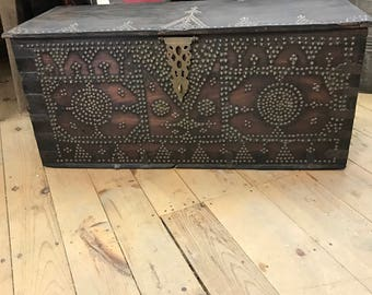 Moroccan Chest Trunk Antique Wedding Chest Wood Brass Studs
