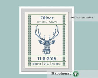 cross stitch baby birth sampler, birth announcement, nordic deer, deer, woodland, baby boy, DIY customizable pattern** instant download**