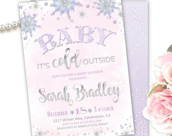 Baby Its Cold Outside Baby Shower Invitations Girl, Baby it's Cold Outside Invites, Baby It's Cold Outside Baby Shower theme Snowflake