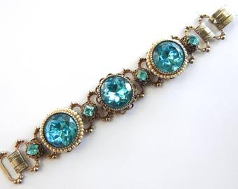 Mid Century Book Chain Aqua Rhinestone Bracelet