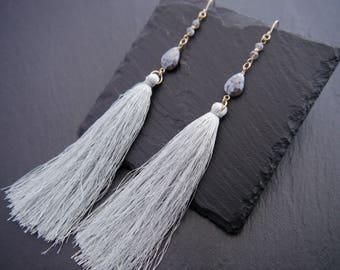 Bohemian, Tassel Earrings, Silk Tassel, Labradorite Earrings, Teardrop Earrings, Long Dangle Earrings, Gold Filled, Wire Wrapped, Light Blue