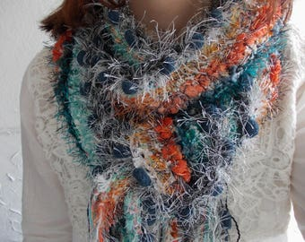 Orange blue knit scarf... Rustic pom pom scarf, winter fashion, contrasting colors, hand knit colorful neck warmer, textured shawl.