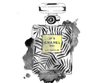 Chanel Print, Leaves, Patterns, Botanic, Chanel No.5, Coco Noir, illustration, Botanical, perfume, fashion, Wall Art, Art, Black and White
