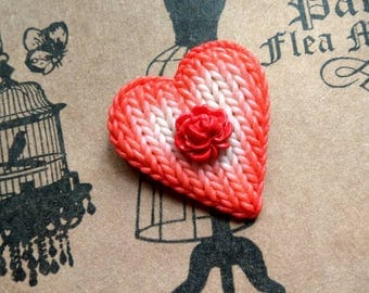 Brooch in the form of a heart. Brooch of polymer clay. Knitting heart. Red heart. Red brooch