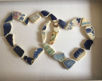 Love heart picture, Scottish sea pottery art, beach pottery anniversary, double heart sea glass gift, wedding gift