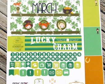 March Monthly Full Kit Planner Stickers - for use with Erin Condren Life Planner - Happy Planner