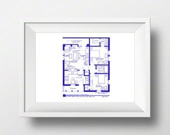 I love lucy tv show apartment floor plan blueprint poster i love lucy ethel and fred mertz apartment tv show layout blueprint poster malvernweather Image collections
