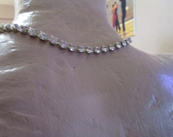 "vintage silvertone diamante 15"" choker necklace in good used condition"
