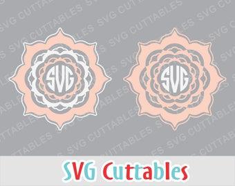 Mandala svg, mandala monogram frame svg, monogram frame svg, silhouette file, cricut cut file, digital download