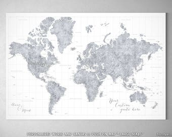 Framed maps etsy extra large 60x40 world map push pin canvas highly detailed world map push gumiabroncs Choice Image