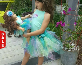 """Matching doll and child outfits Made to order and Made to fit American Girl 18 inch and Bitty Baby doll """"Mermaid Squad"""""""