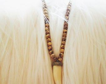 Long Brown Jasper Horn Necklace