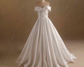 Satin Off Shoulder A Line Wedding Dress with Box Pleats