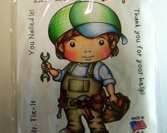 La-La Land Crafts mounted rubber stamp: Mr. Fix-It